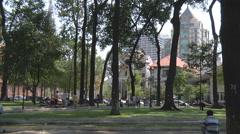 Park near Saigon Notre-Dame Basilica in Ho Chi Minh City, Vietnam Stock Footage