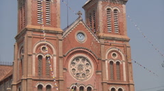 Notre-Dame Basilica in Ho Chi Minh City, Vietnam Stock Footage
