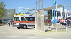 Ambulance on the territory of Milan EXPO 2015 Stock Footage