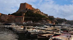 The Citadel and harbor at Bonifacio, Corsica - stock footage