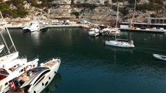 The harbor at Bonifacio in Corsica Stock Footage