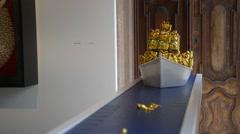 Museum of Contemporary Art in Venice. Sculpture ship - stock footage