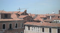 Roofs of houses in Venice of the red Italian tile Stock Footage