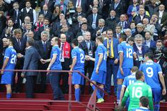 FC Dnipro Dnipropetrovsk - the silver medalists of the UEFA Europa League 201 - stock photo