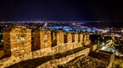 Unique Byzantine Walls at the city of Thessaloniki of Greece in timelapse Stock Footage