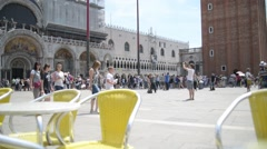 A crowd of tourists at the Piazza San Marco in Venice Stock Footage