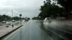 4K UHD slick wet road travel after heavy downpour Stock Footage