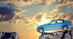 Car on mountain top Stock Illustration