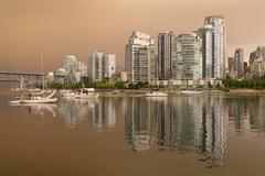 Vancouver Skyline Wildfire Smoke Haze - stock photo