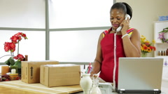 dolly woman small business owner getting bad news on the phone - stock footage