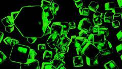 Green Blocks Bouncing Off The Walls! Stock Footage