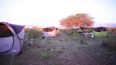 Camp site in dry remote rural Kenya savannah, Africa Stock Footage