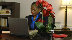 hard working woman corporate CEO busy in her office - stock footage
