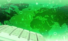 Keyboard on green world map background - stock illustration