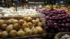 Fresh Onions and Garlic at Supermarket 4k Stock Footage