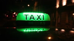 Glowing Taxi Sign in Paris France Stock Video - stock footage