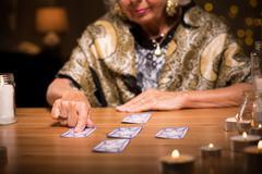 Woman predicting future - stock photo
