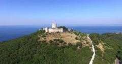 Greece, medieval castle of Platamon. Aerial shot Stock Footage