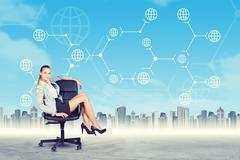 Lady sitting in chair and looking at camera - stock illustration