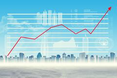 Stock Illustration of Graphical chart on abstract virtual background