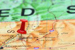 Santa Fe pinned on a map of USA - stock photo