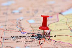 St Paul pinned on a map of USA Stock Photos