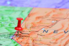 Carson City pinned on a map of USA - stock photo
