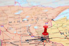 St Paul pinned on a map of USA - stock photo