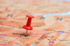 Billings pinned on a map of USA - stock photo