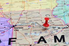 Jefferson City pinned on a map of USA - stock photo