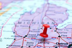 Lansing pinned on a map of USA Stock Photos