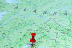 Anchorage pinned on a map of America - stock photo
