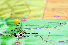 Denver pinned on a map of USA Stock Photos