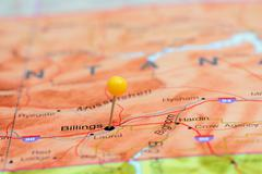 Billings pinned on a map of USA Stock Photos