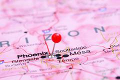 Phoenix pinned on a map of USA Stock Photos