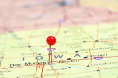 Des Moines pinned on a map of USA - stock photo