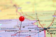Stock Photo of Topeka pinned on a map of USA