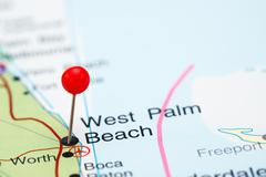 West Palm Beach pinned on a map of USA - stock photo