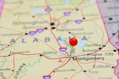 Montgomery pinned on a map of USA - stock photo