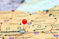 Columbus pinned on a map of USA Stock Photos