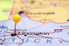Lexington pinned on a map of USA - stock photo