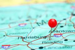 Harrisburg pinned on a map of USA Stock Photos