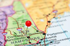 Concord pinned on a map of USA - stock photo