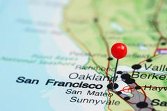San Francisco pinned on a map of USA - stock photo