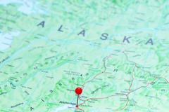 Anchorage pinned on a map of America Stock Photos