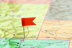 Cheyenne pinned on a map of USA - stock photo