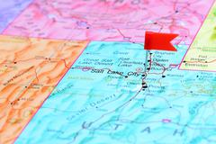Stock Photo of Salt Lake City pinned on a map of USA
