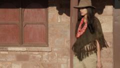 Cowgirl in the Old West Stock Video - stock footage