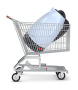 Electric kettle in shopping cart - stock illustration