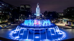 Los Angeles City Hall and Fountains Timelapse Stock Footage